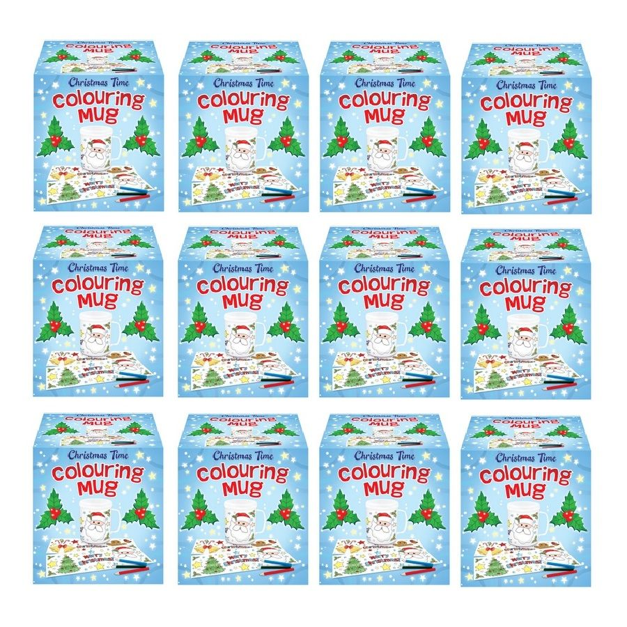 12 x christmas time colouring mugs colour your own arts for Bulk arts and crafts