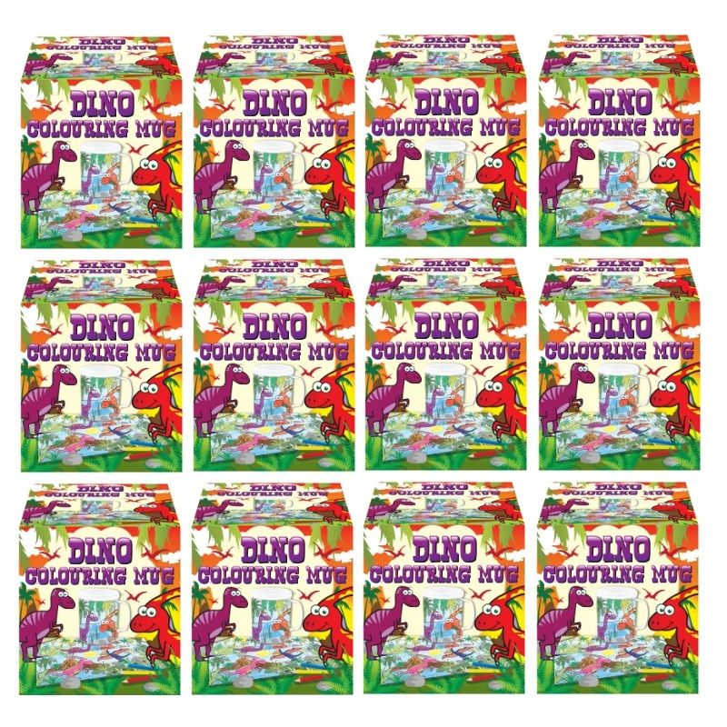 12 x dinosaur colouring mugs colour your own arts for Bulk arts and crafts