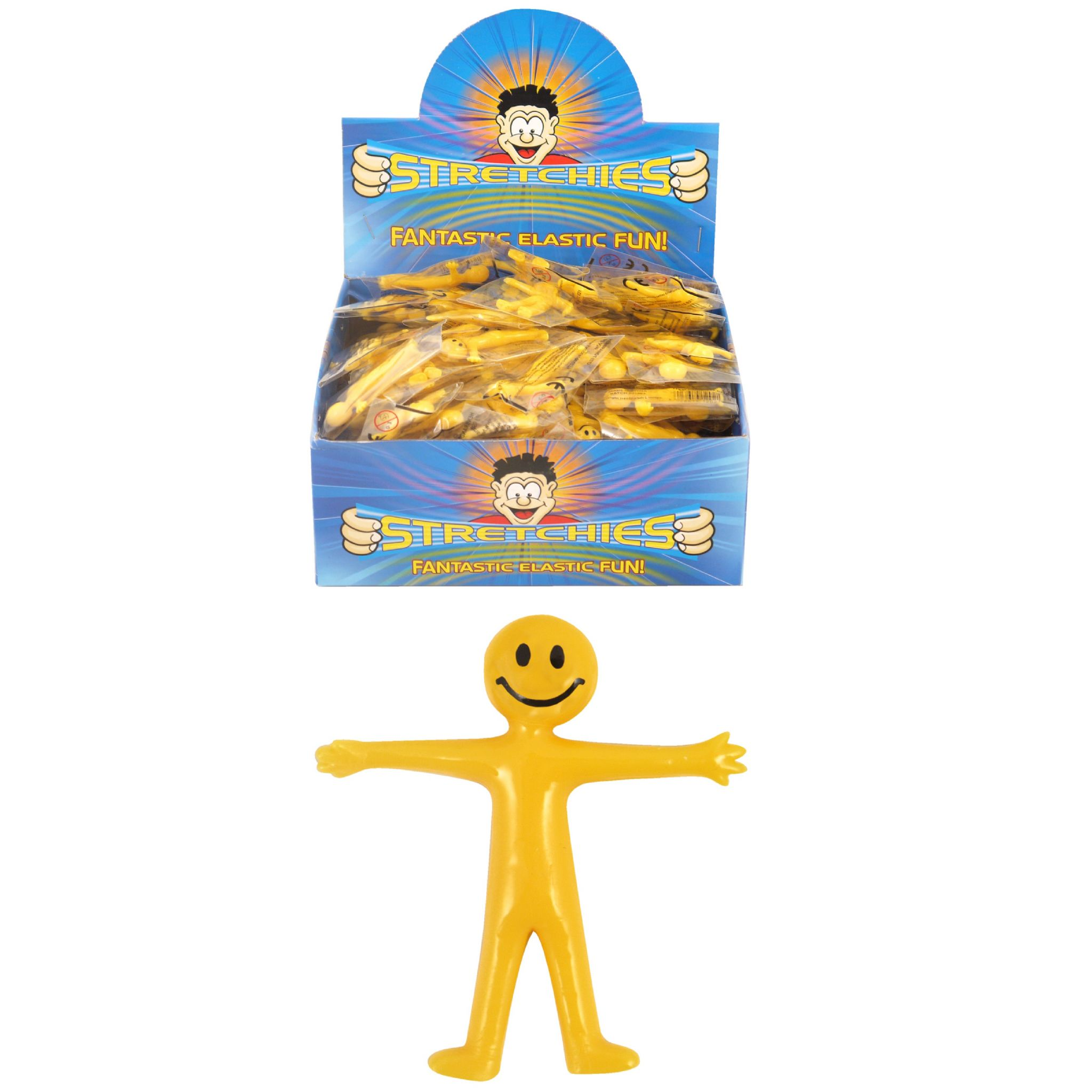 144 x Stretchy Smiley Men Man - Yellow - Wholesale Bulk Buy Box