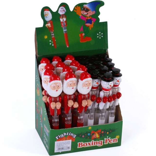 24 X Santa Amp Snowman Christmas Boxing Pens With Led Eyes
