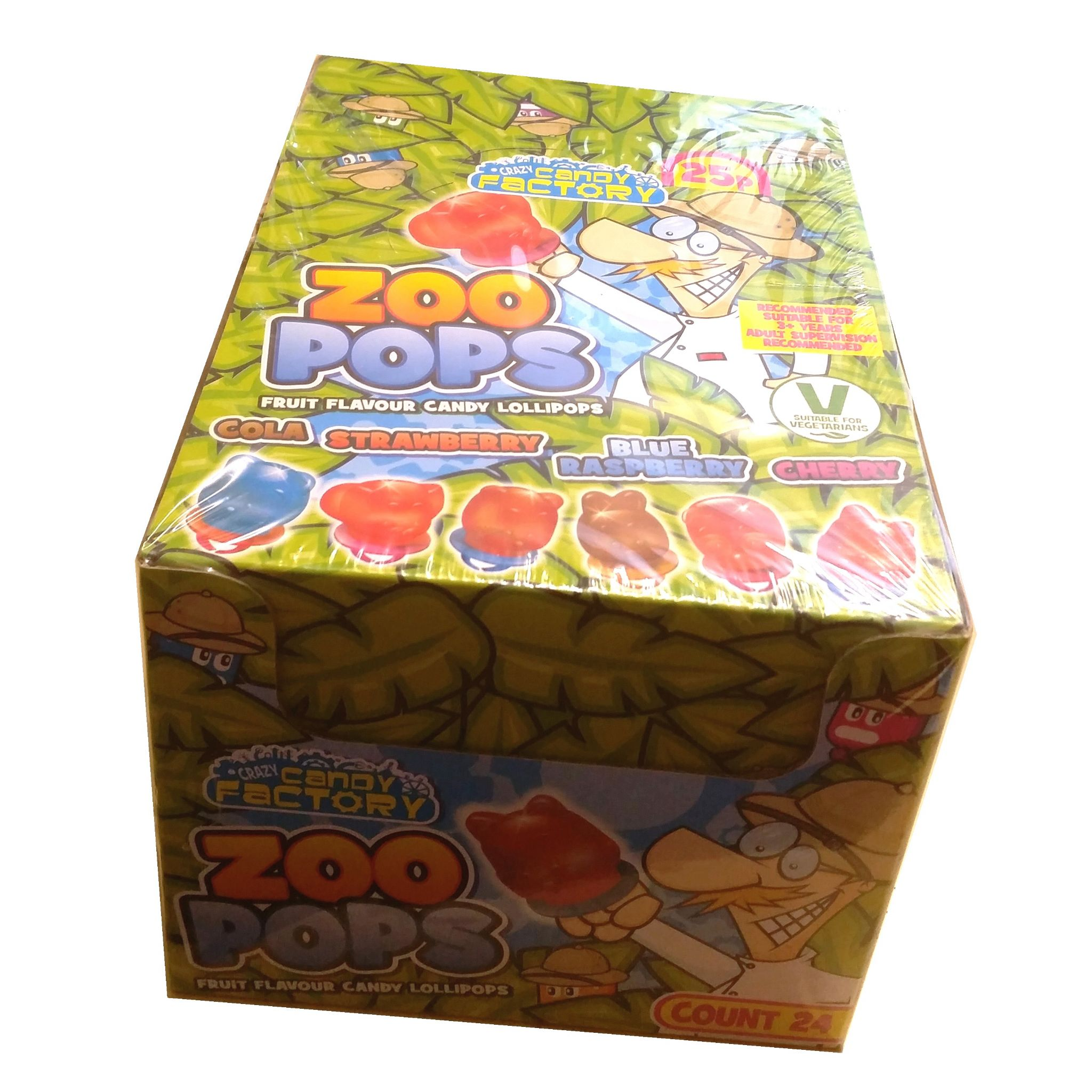 24 x Zoo Pops Mini Lolly Sweets Lollies With Rings - Crazy