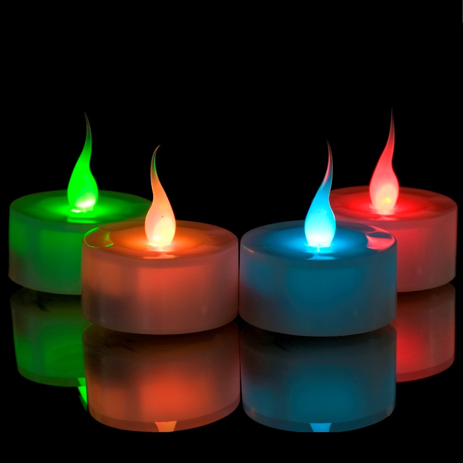 Colour Changing Led Flame Tealights Battery Operated