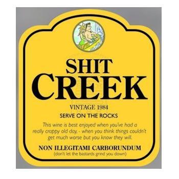 Fun Wine Bottle Label & Gift Bag - SHIT CREEK (Jacobs Creek)