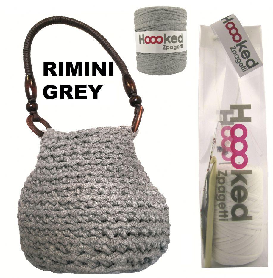 Crochet Craft Bag : Grey Rimini Bag - Hoooked Zpagetti Crochet Craft Kit by DMC