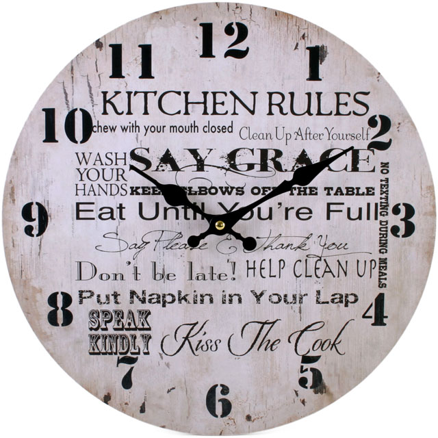 Pin Kitchen Clocks On Large Kitchen Wall Clock Plaque