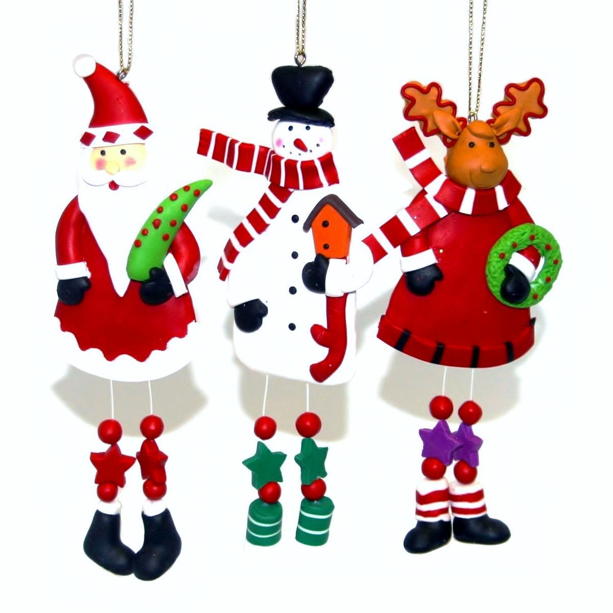 Knobbly Knees Clay Christmas Tree Ornaments Handmade Xmas Decorations Set Of 3