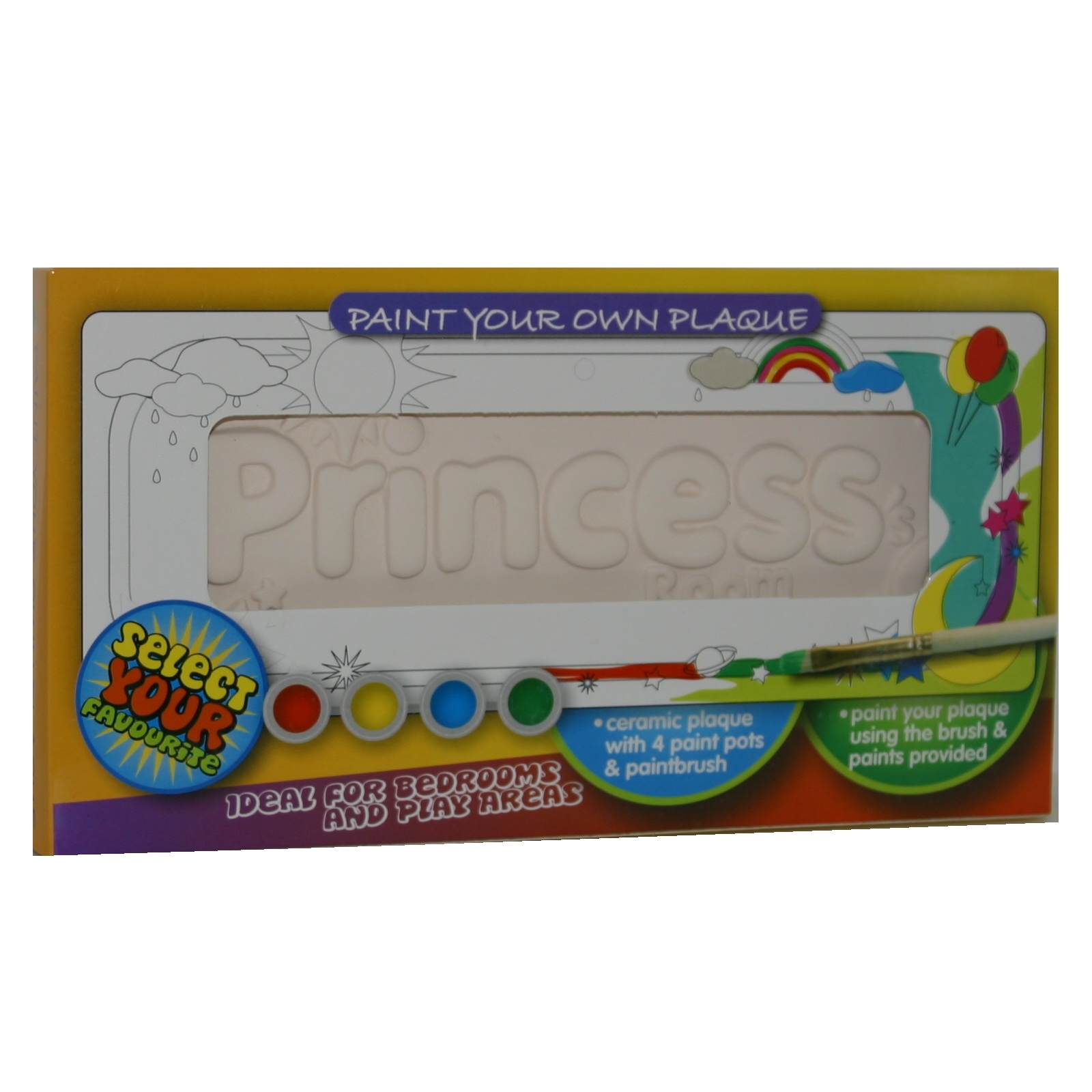Princess s room paint your own plaque painting craft kit for Paint your own room visualizer