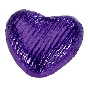 Purple Foiled Milk Chocolate Hearts - Wedding Favours 5g