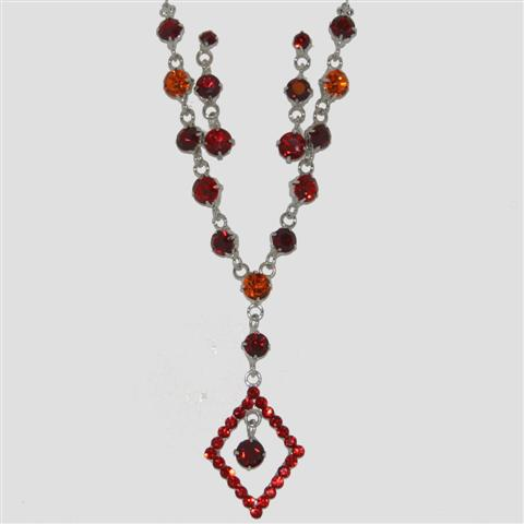 red diamond shaped necklace amp matching earrings set