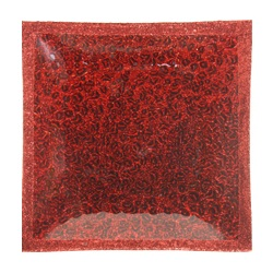 RED Square Glass Glitter Plate - Shearer Candles