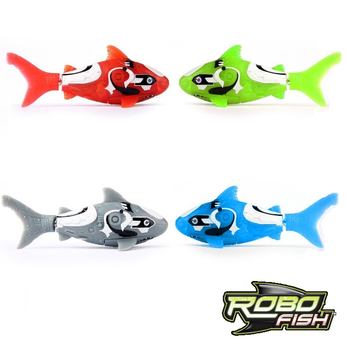 Set of 4 red blue green grey reef sharks robo fish by zuru for Zuru robo fish