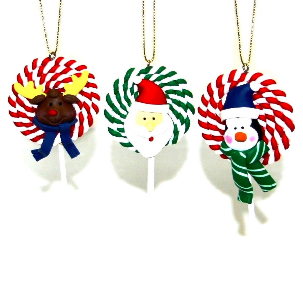 LOLLIPOPS - Clay Christmas Tree Ornaments Handmade Xmas Decorations ...
